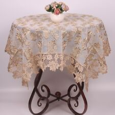 Golden Line Rose Embroidered Table Cloth Luxury Lace Tablecloth Home Decor
