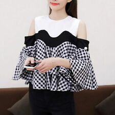 Women Blouse Shirt Girl Off Cold Shoulder 3/4 Flare Sleeve Plaids Stitching Tops