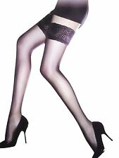 New Ladies Black Sheer Lace Top Thigh High Hold Up Stockings One Size