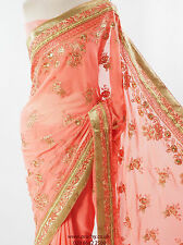 Urvi -  Peach Saree with allover embroidery, Free Petticoat, Bollywood, Weddings