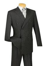 Vinci Men's 2 Piece Double Breasted Suit - Banker Stripe | Product ID: DSS-4