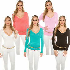 Fine Knit Sweater Pullover V Neck 34 36 Office Leisure Ladies' Jacket