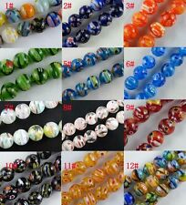 16pcs  Millefiori Glass Round Loose Beads Spacers Jewelry DIY 14mm