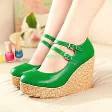 Hot Womens strap buckle Wedge High Heels Platform Round Toes Pumps Shoes size