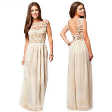 Women Chiffon Lace Backless Bridesmaid Evening Formal Party Ball Gown Long Dress