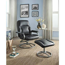 Vinyl Upholstered 2 Piece Recliner Chair Ottoman Set Home Living Room Furniture