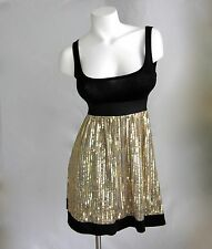 Women S M Gold Sequin Black Sexy Dress New Party Empire Waist Sleeveless NWT