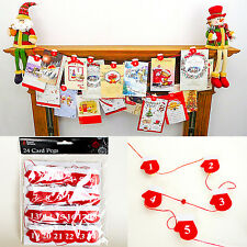 24 Santa Gloves Card Holder Wooden Pegs Christmas Advent With String Decoration