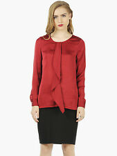 FabAlley Womens Red Ruffled Satin Long Sleeve Crew Neck Blouse Top