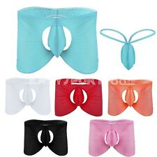 2pc Men Underwear Trunk Sheer Boxer Crotchless Brief Bakless Underpant+G-Striing