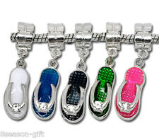 Wholesale Lots HX Mixed Enamel Slippers Dangle Beads Fit Charm Bracelet