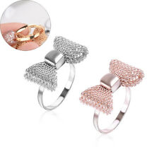 Fashion Women Gold Plated Color Exquisite Noble Cute Bow Ring Adjustable Rings