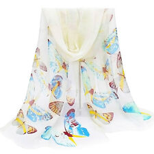 New Chiffon Butterfly Scarf Silky White Summer Scarves Wrap Shawl