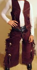 SHOWMAN BROWN SUEDE VEST CHAPS SET KIDS DRESS Up Cowboy Cowgirl Costume! 3 sizes