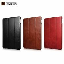 NEW Luxury ICARER GENUINE Leather Tri-Fold Stand Smart Case Cover For Apple iPad
