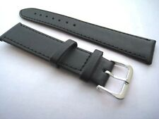 Black leather watch straps. Stitched with steel buckle. 20mm & 22mm. From UK