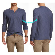 NWT JOHN VARVATOS STAR USA MENS LONG SLEEVE HENLEY OFFICER BLUE SIZE LARGE