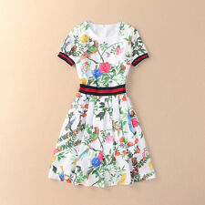 Summer Fashion Dress Women's Short Sleeve Charming Retro Floral Printed Casual D
