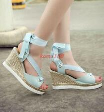 Womens platform Wedge High Heel Peep Toes Strappy Casual Sandals Summer Shoes