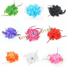 Feather Flower Hair Tie Clip Corsage Pin Brooch Hair Decor Band Multicolor