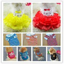 Unisex Various Pet Puppy Small Dog Cat Pet T Shirt Apparel Sweet Skirt Vest