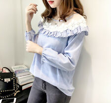 New Korean Women Spring Autumn Casual Long Sleeve Striped Stitching Shirt Tops