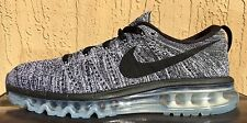 New Mens Nike FlyKnit Full Air Max Running Shoes Size 8.5 Black/White/Gray 2015