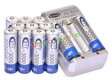 12x AA 3000mAh 1.2V Ni-MH rechargeable battery BTY for MP3 RC Toy Camera+Charger