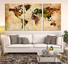 Watercolor World Map Canvas Print - Large Wall Art Watercolor Grunge World Map