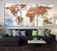 World Map on Old Wall Canvas Print - Large Wall Art Grunge World Map Art Print