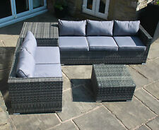 New Rattan Outdoor Garden 5 Seater Corner Sofa With Storage And Table Set