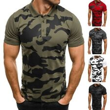 OZONEE BREEZY 6015P Mens Polo Shirt Polo T-Shirt Camouflage Short sleeve Fitted