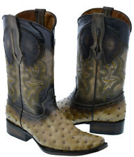Mens Sand Square Toe Ostrich Quill Skin Print Western Leather Cowboy Boots