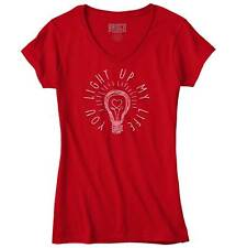 Light Up My Life Cute Love Valentines Day Gifts Funny Quote Junior V-Neck Tee