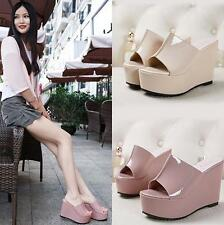 Sexy Womens Open Toe Sandals High Platform Wedge heel Slippers Shoes fashion