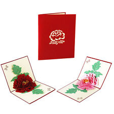 New Peony 3D Pop-Up Greeting Card Paper Blessing Kirigami Gift For Mothers' Day
