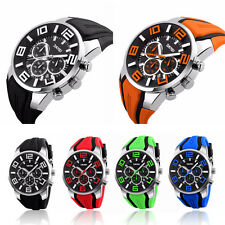 Men's Sport Waterproof Rubber Date Stopwatch Analog Military Quartz Watch New