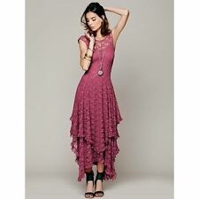 Boho Vintage Ruffled Hem Lace Dress Free People Inspired Hippie Beach Casual