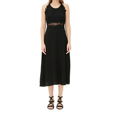 Women Sexy Sheer Backless Lace Contrast Party Evening Cocktail Midi Dress Black