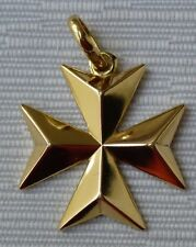 9ct 9kt 375 Yellow Gold Maltese Cross Pendant SOLID - Biggest size (XL)