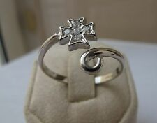 Sterling Silver Maltese Cross Ring with Stones Adjustable Size AMALFI CROSS