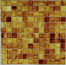 12X12 Amber Sunglow Jewelstone Mosaic Glass Backsplash Tile