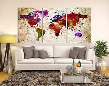 Watercolor World Map Canvas Print - Triptych Art Watercolor World Map Canvas Art
