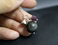 Natural Rainbow Obsidian Tassel Necklace Sterling Silver, Tiny Black Stone Neckl