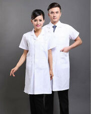 New Men Women White Lab Coat Scrub Medical Doctor's Jacket Short Sleeve Nursing