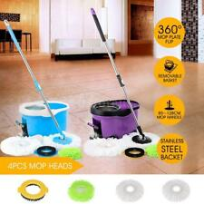 Self-Wring Mop and Bucket w/ Foot Pedal Microfiber & 4 Mop Head & Brush set K2X0