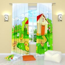 """Little Chickens Window Curtains for Kids Room Panel (Set of 2), Polyester, 84"""""""