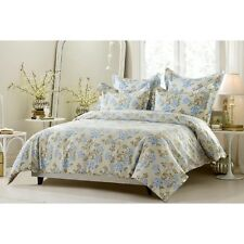King / CKing Full / Queen Beige Blue Floral Duvet Set 5 Piece Cover 4 Shams