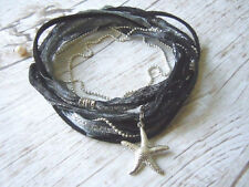 Ankle Bracelet, Starfish Anklet, Ankle Wrap, Black, Charcoal, Silver, Boho Style