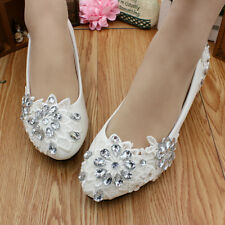 Lace white crystal Wedding shoes Bridal flats low high heel pump size 5-12